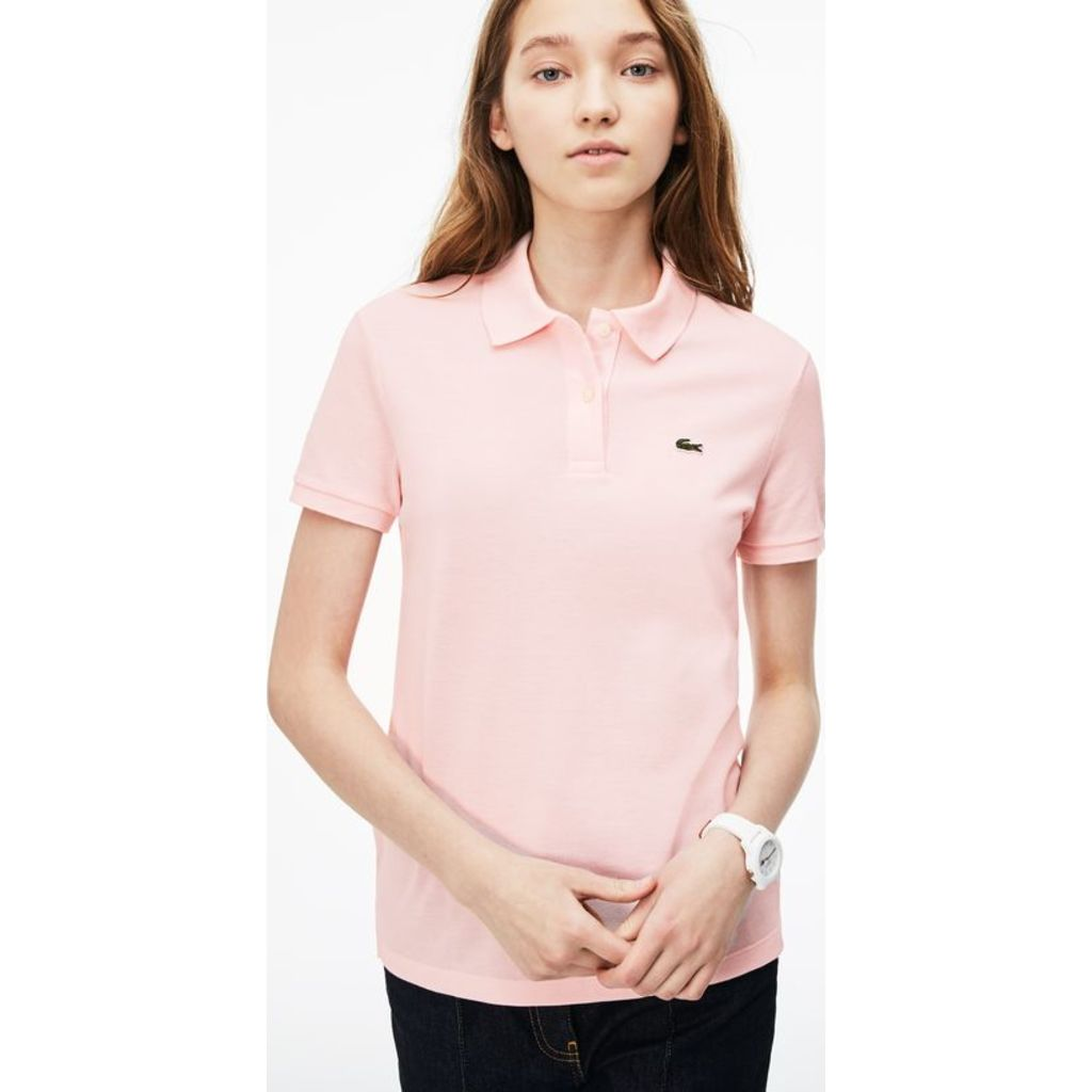 Lacoste Classic Fit Cotton Pique Womens Polo Shirt Flamingo Pink