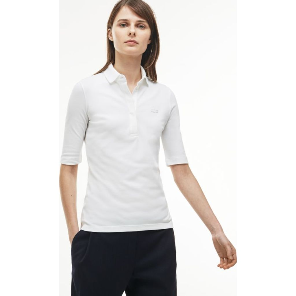 2e97298a Lacoste Slim Fit Stretch Women's 3/4 Sleeve Polo Shirt | White ...