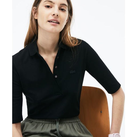 Lacoste Slim Fit Stretch Pique Women's 3/4 Sleeve Polo Shirt | Black