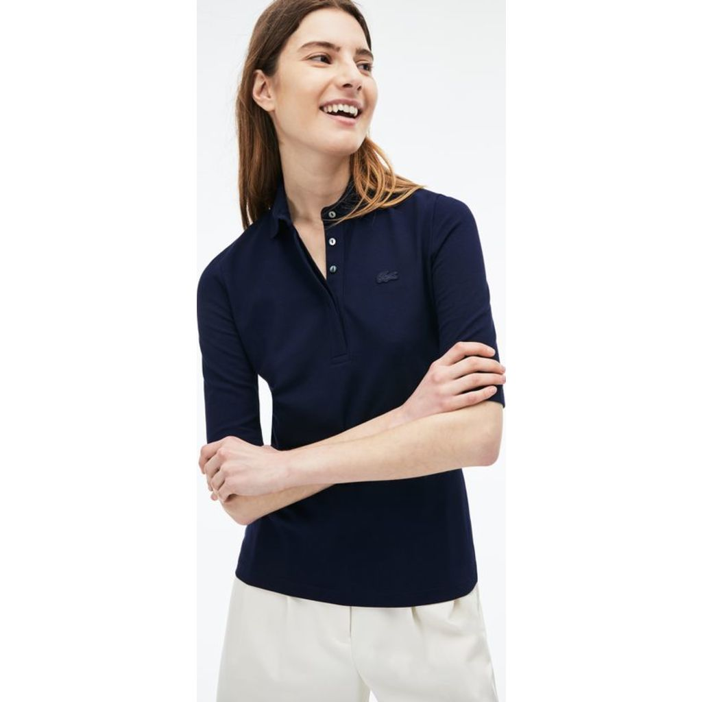 Lacoste Slim Fit Stretch Pique Womens 34 Sleeve Polo Shirt Navy