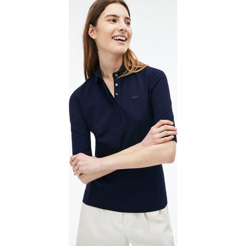 Lacoste Slim Fit Stretch Pique Women's 3/4 Sleeve Polo Shirt | Navy Blue
