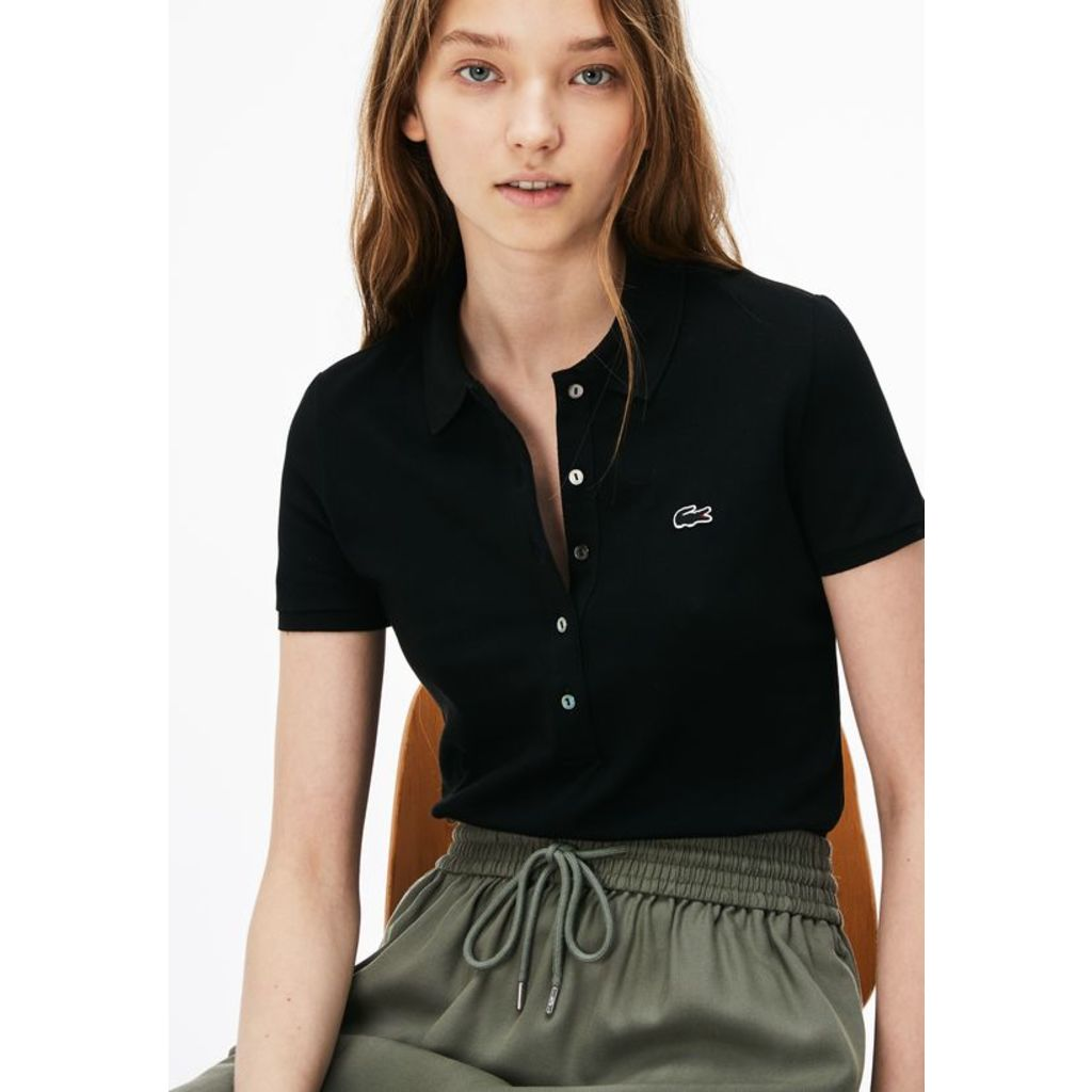 Lacoste Slim Fit Stretch Cotton Pique Womens Polo Shirt Black
