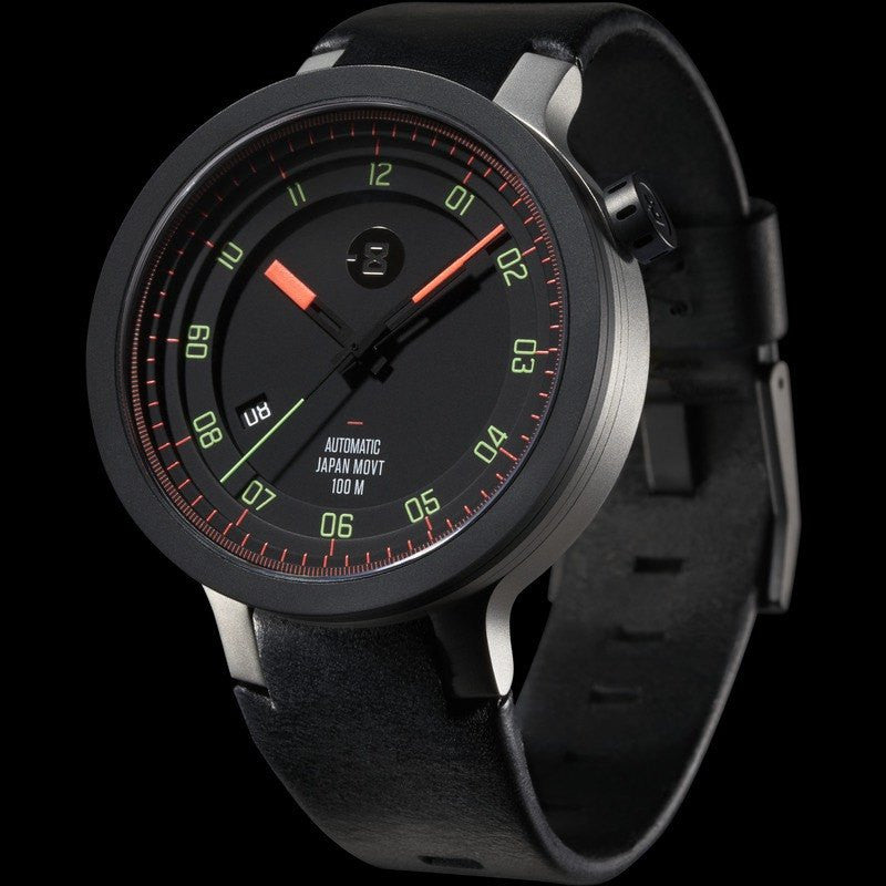 Minus-8 Layer Black/Bright Automatic Watch | Leather