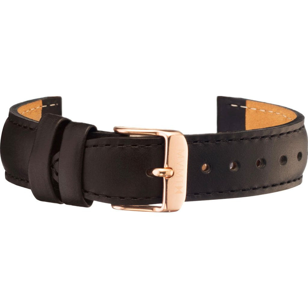 MVMT Women's 18mm Leather Strap | Black / Rose Gold