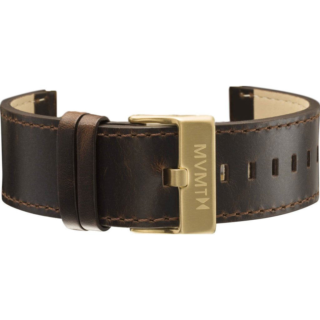 MVMT Men's 24mm Classic Leather Strap | Brown/Gold