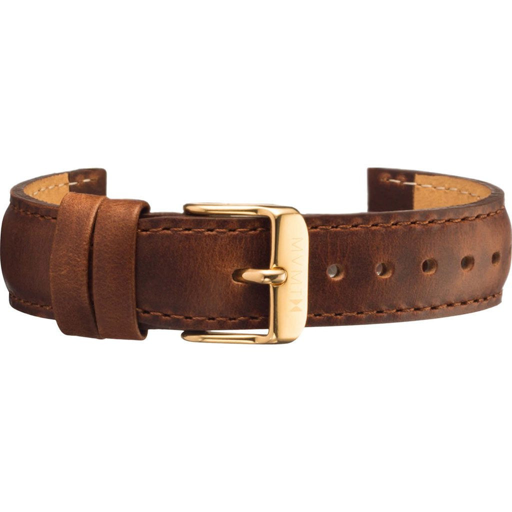 MVMT Women's 18mm Leather Strap | Brown / Gold