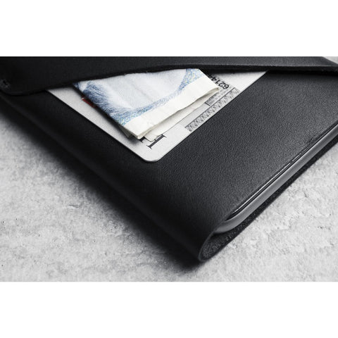Mujjo Leather Wallet Sleeve for iPhone 7 | Black MUJJO-SL-102-BK