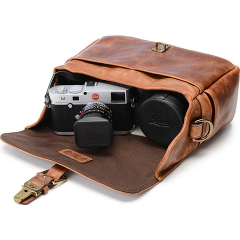 ONA Leather Bowery Camera Bag | Antique Cognac/Red ONA5-014LBR-LEICA