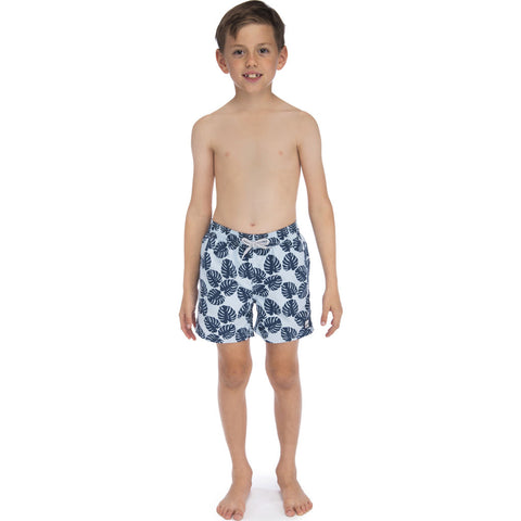 Tom & Teddy Boy's Leaves Swim Trunk | Misty Blue & Navy / 11-12
