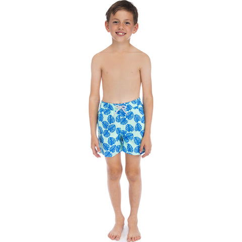 Tom & Teddy Boy's Leaves Swim Trunk | Pale Green & Blue / 11-12