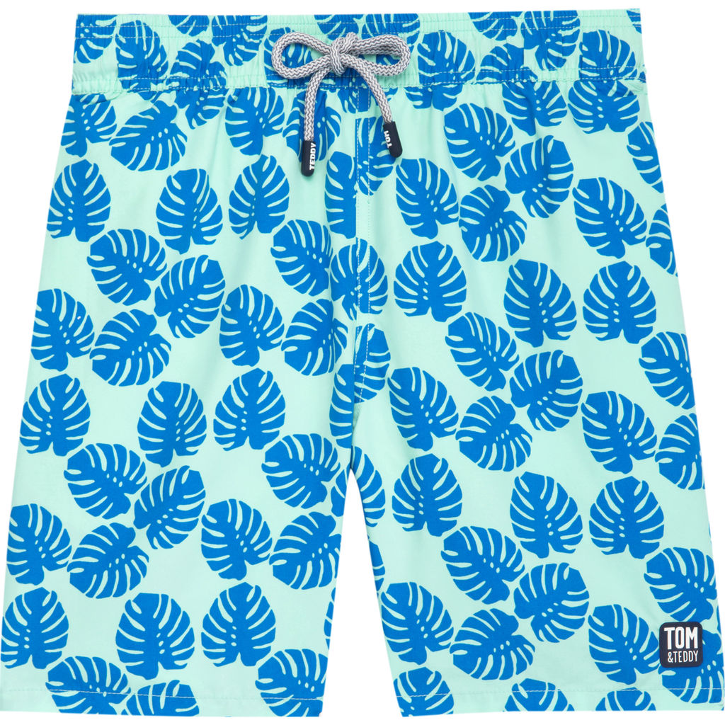 Tom & Teddy Men's Leaves Swim Trunk | Pale Green & Blue / 2XL