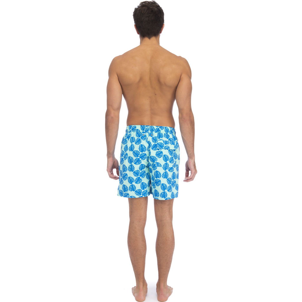Tom & Teddy Men's Leaves Swim Trunk | Pale Green & Blue / S