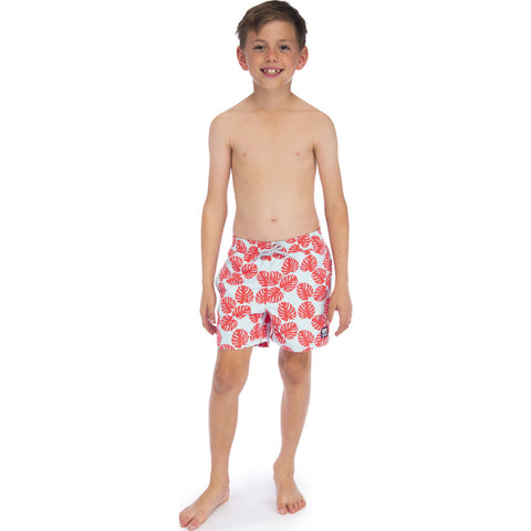 Tom & Teddy Boy's Leaves Swim Trunk | Sky Blue & Red / 11-12