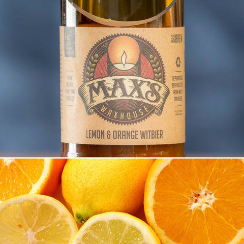 Max's Waxhouse 6oz Beer Bottle Candle | Lemon & Orange Witbier