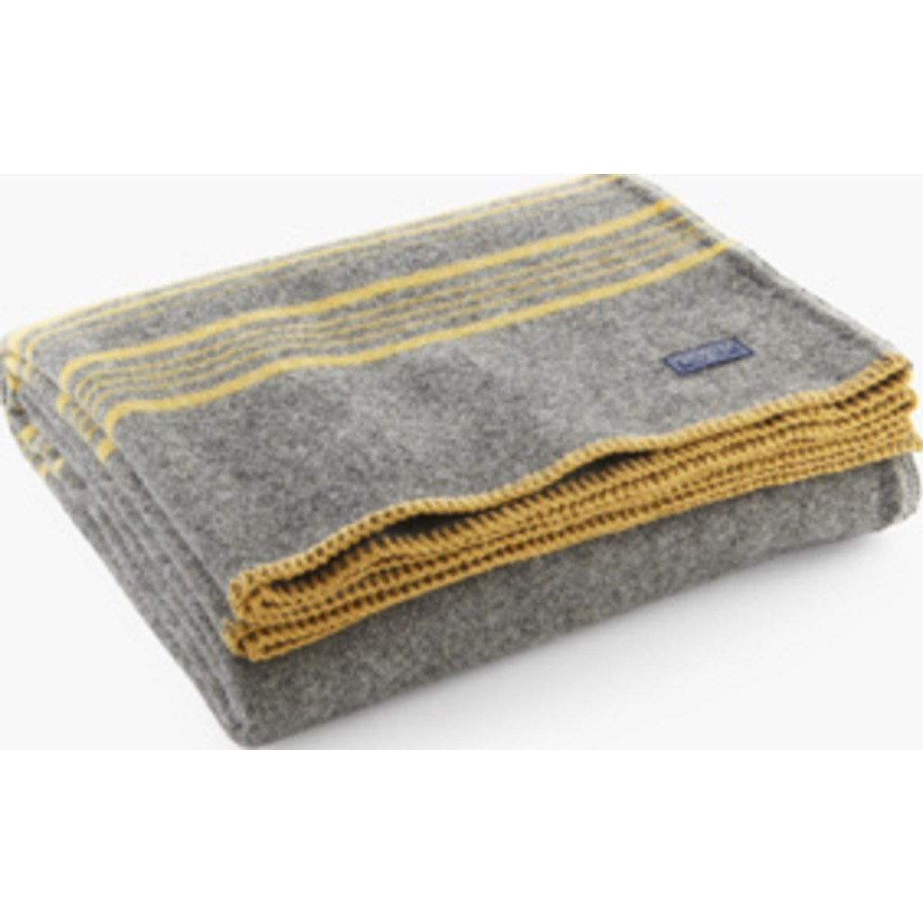 "Faribault Weekender Stripe Wool Throw | Charcoal/Gold 10215 50"" x 72"""