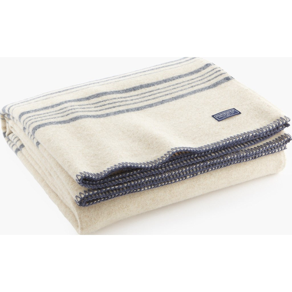 Faribault Weekender Stripe Wool Throw | White/Slate Blue 10208 50x72