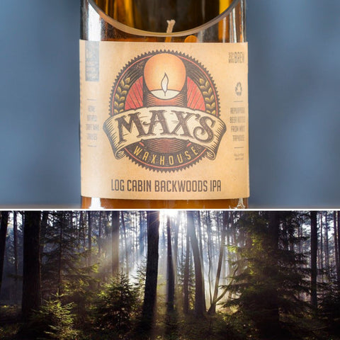 Max's Waxhouse 6oz Beer Bottle Candle | Log Cabin Backwoods IPA