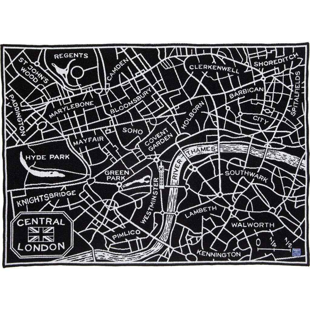 Faribault London Map Wool Throw | Black 17214 50x65