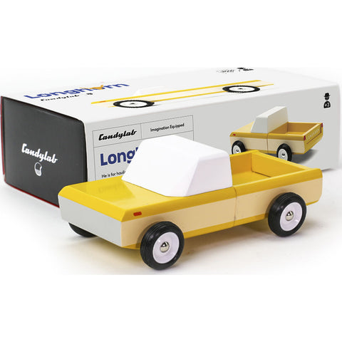 Candylab Longhorn Pick Up Truck Wooden Toy | Orange Yellow M2001