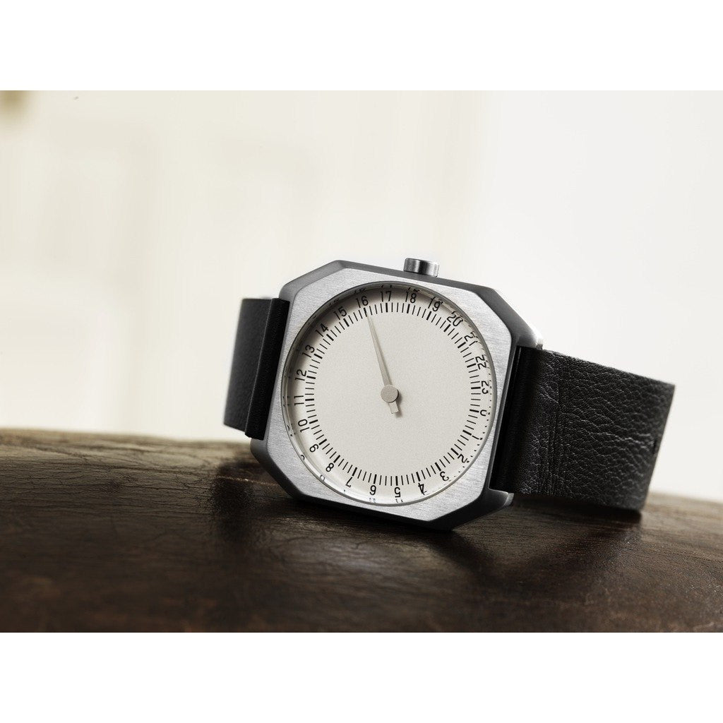 slow Jo 05 Silver Watch | Black Leather X000FGLSF5