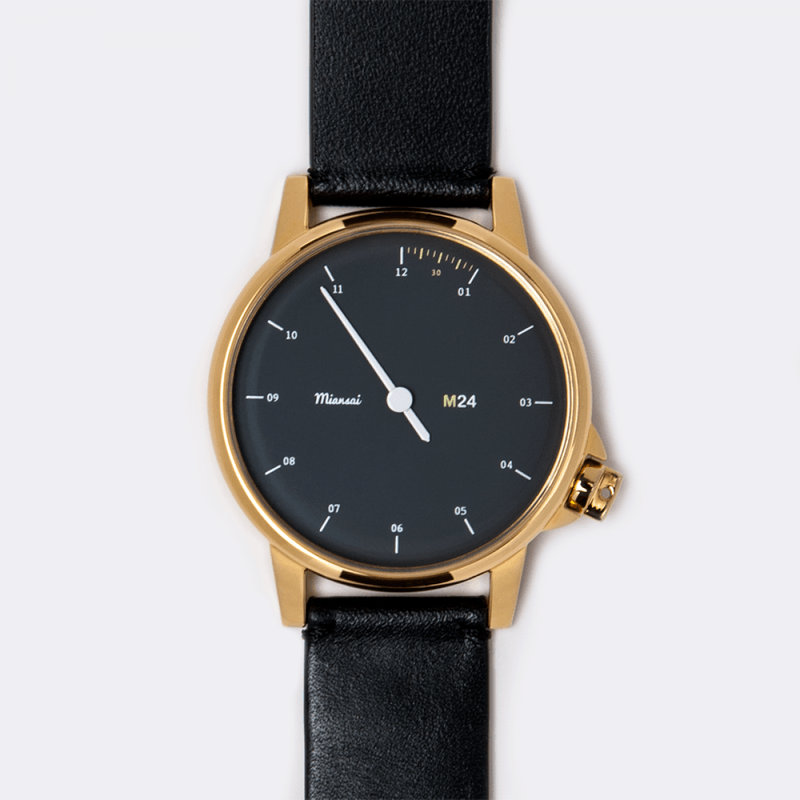 Miansai M24 Gold Watch | Black Leather 107-0007-001