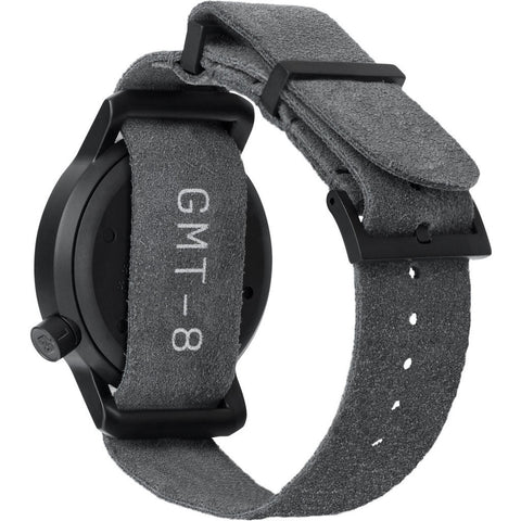 Minus-8 Anza Black Field Watch | Matte Black Suede P024-017-2Strap-MBO