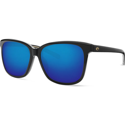 Costa May Shiny Black Sunglasses | Blue Mirror 580G