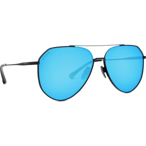 DIFF Eyewear Dash Sunglasses | Matte Black + Blue Mirror + Polarized