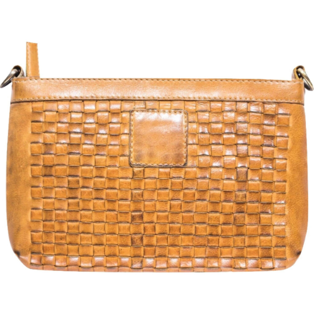Kiko Leather Weaved Crossbody | Tan