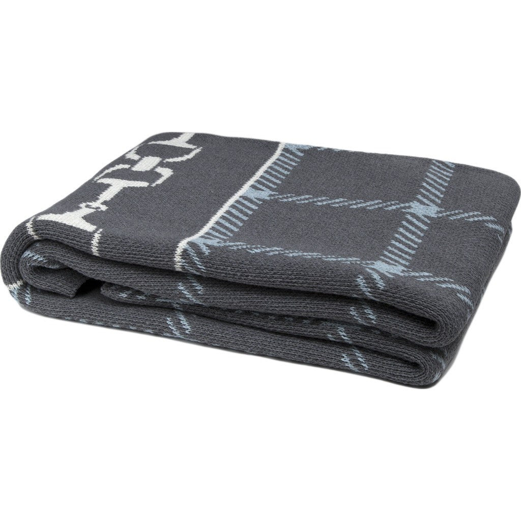 in2green Horse Bit Plaid Eco Throw | Smoke/Blue Pond/Milk BL01HBP2