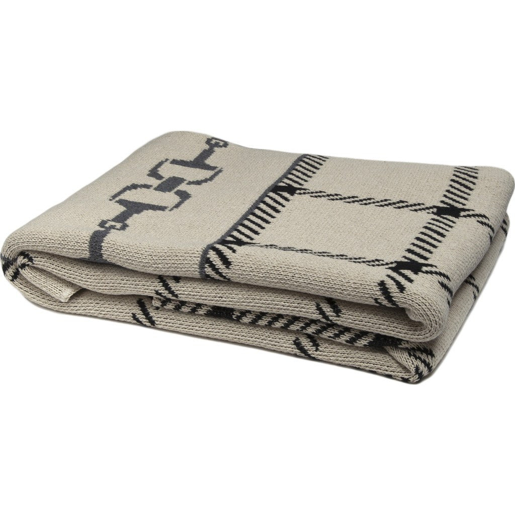 in2green Horse Bit Plaid Eco Throw | Flax/Black/Smoke BL01HBP3
