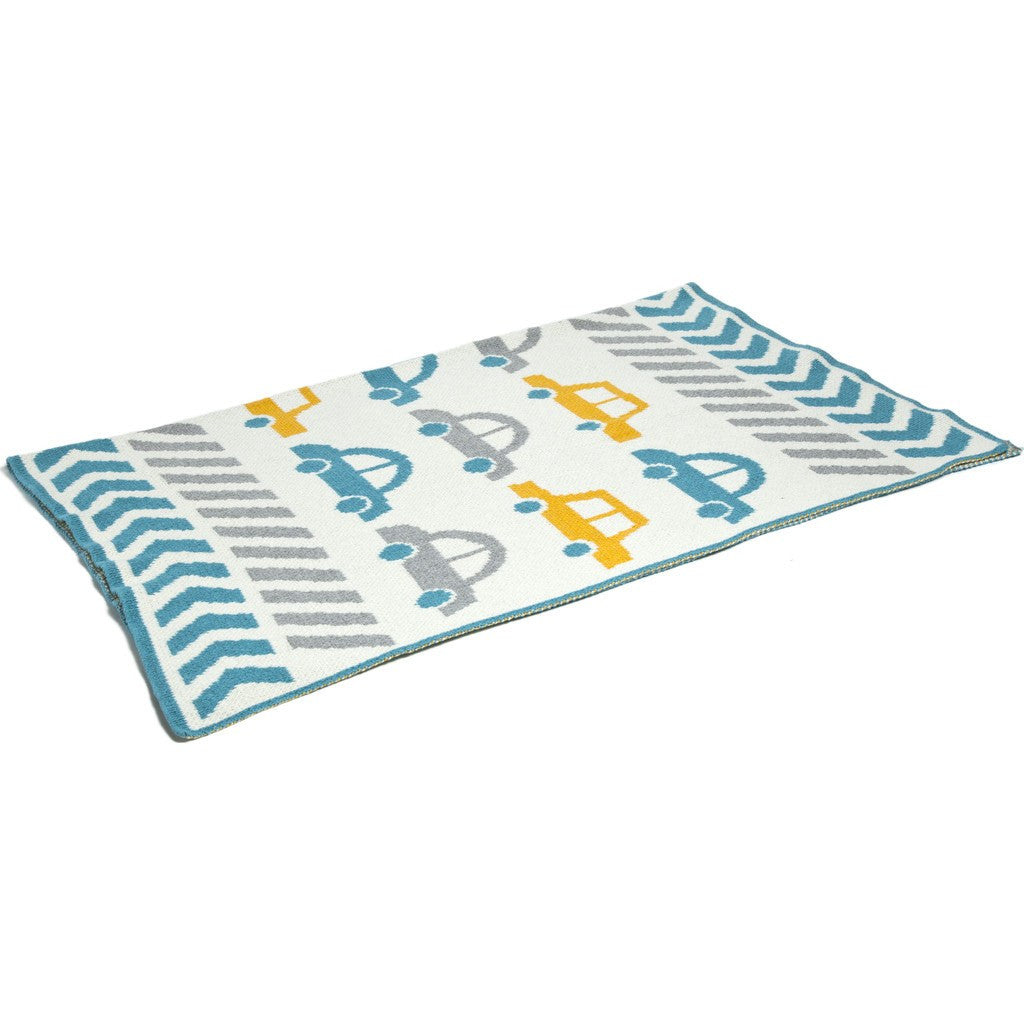 in2green Baby Cars Eco Throw | Milk/Aqua/Aluminum BB02BC1
