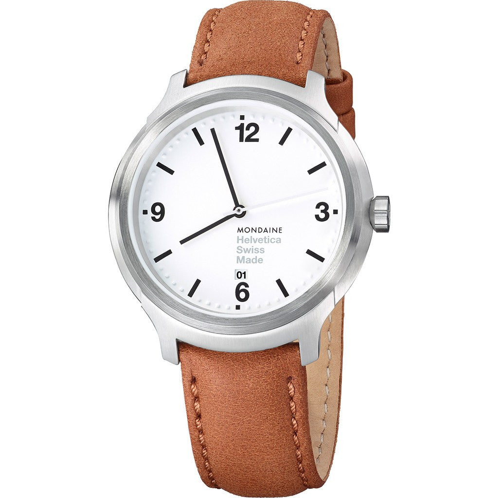 Mondaine Helvetica No1 Bold 43 White Watch | Brown Leather MH1.B1210.LG
