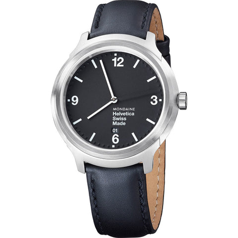 Mondaine Helvetica No1 Bold 43 Black Watch | Black Leather MH1.B1220.LB