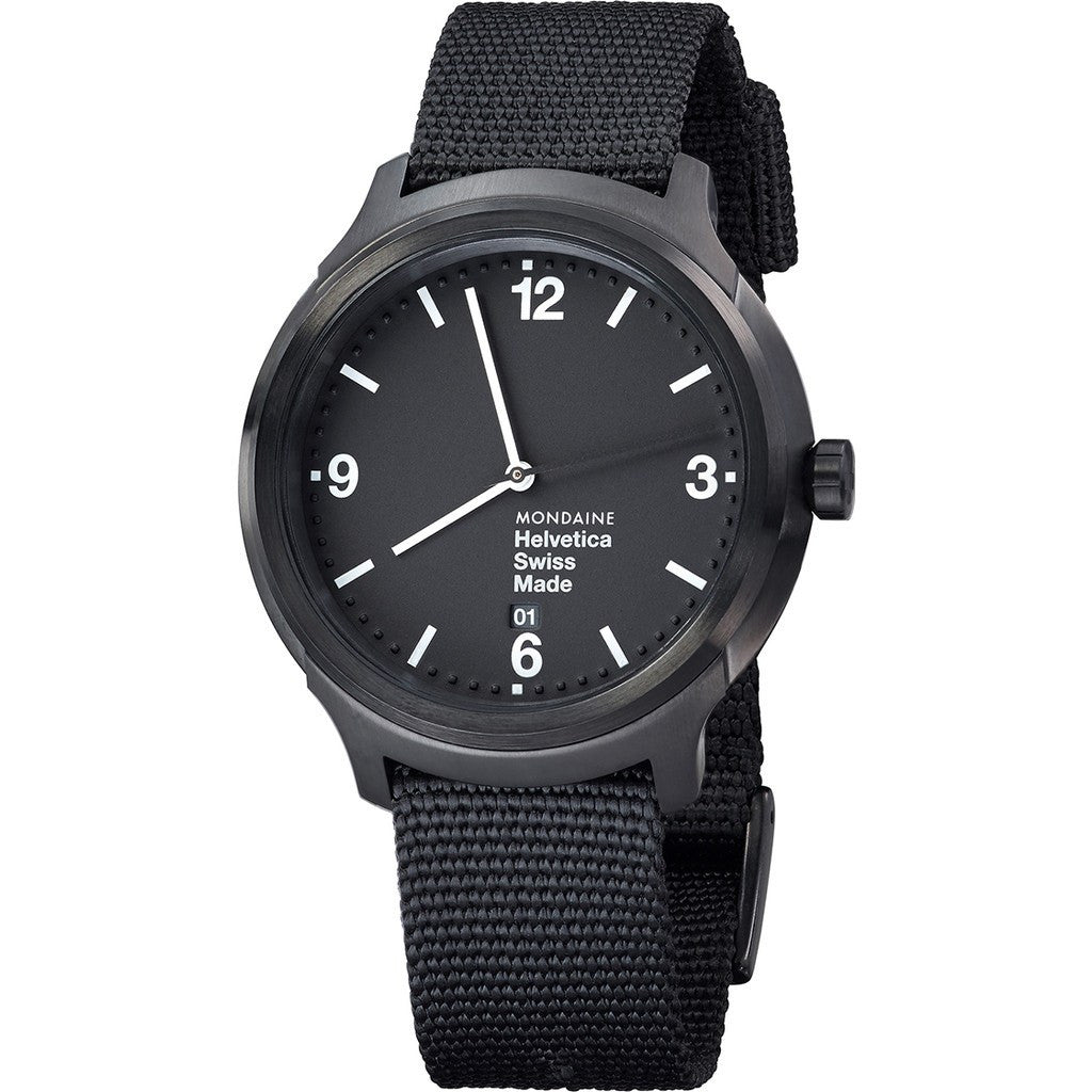 Mondaine Helvetica No1 Bold 43 Black Watch | Black Nylon MH1.B1221.NB