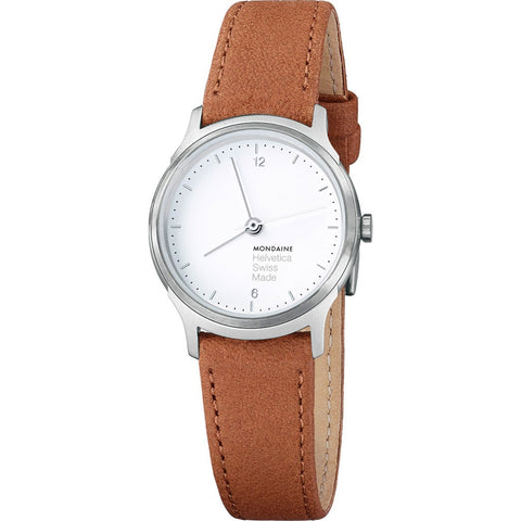 Mondaine Helvetica No1 Light 26 White Watch | Brown Leather MH1.L1110.LG