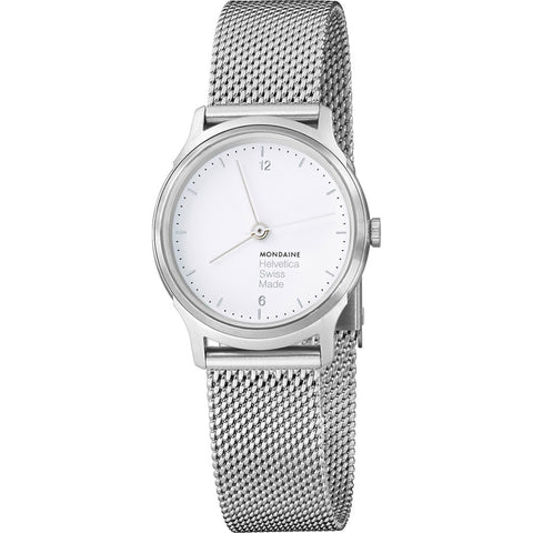 Mondaine Helvetica No1 Light 26 White Watch | Steel Mesh MH1.L1110.SM