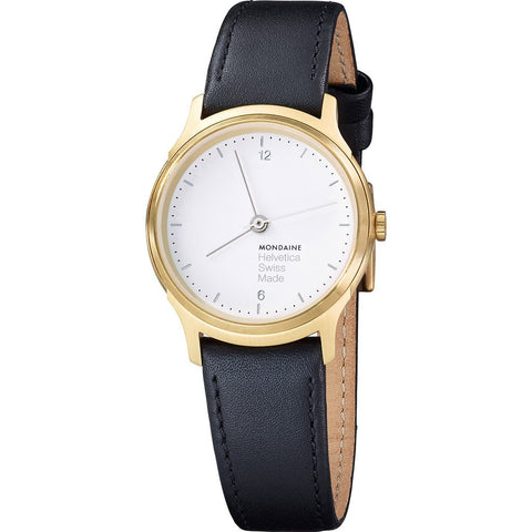 Mondaine Helvetica No1 Light 26 White Watch | Black Leather MH1.L1111.LB