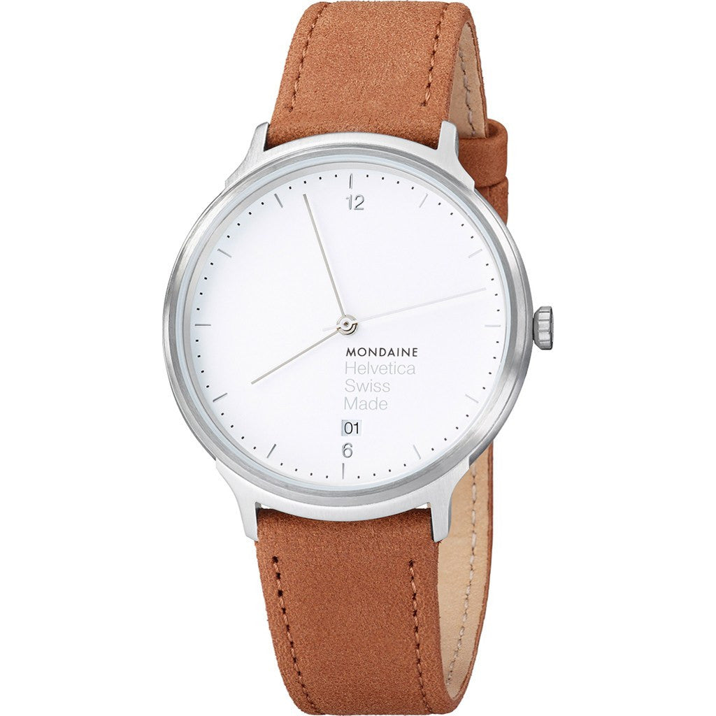 Mondaine Helvetica No1 Light 38 White Watch | Brown Leather MH1.L2210.LG