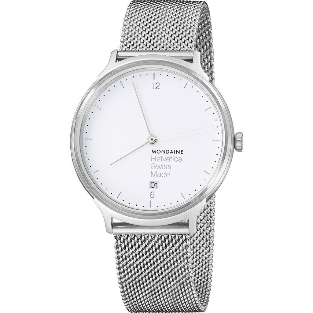 Mondaine Helvetica No1 Light 38 White Watch | Steel Mesh MH1.L2210.SM