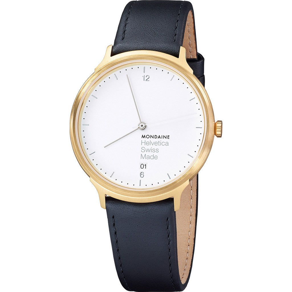 Mondaine Helvetica No1 Light 38 White Watch | Black Leather MH1.L2211.LB