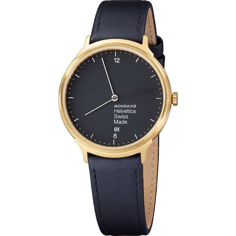Mondaine Helvetica No1 Light 38 Black Watch | Black Leather MH1.L2221.LB