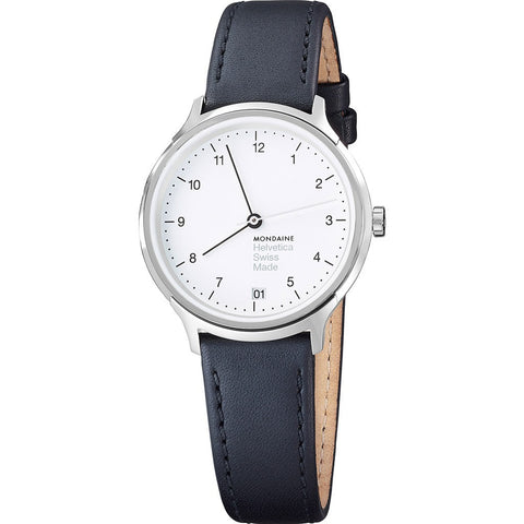 Mondaine Helvetica No1 Regular 33 White Watch | Black Leather MH1.R1210.LB