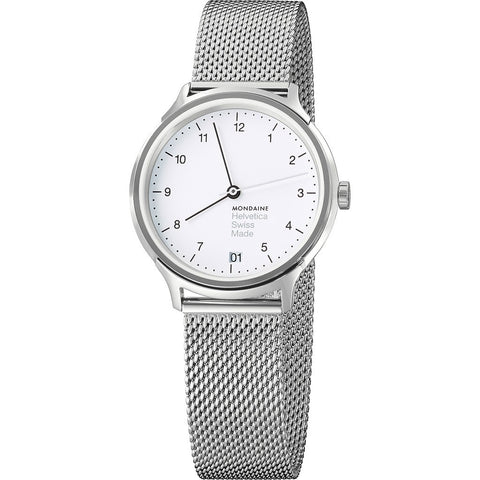 Mondaine Helvetica No1 Regular 33 White Watch | Steel Mesh MH1.R1210.SM