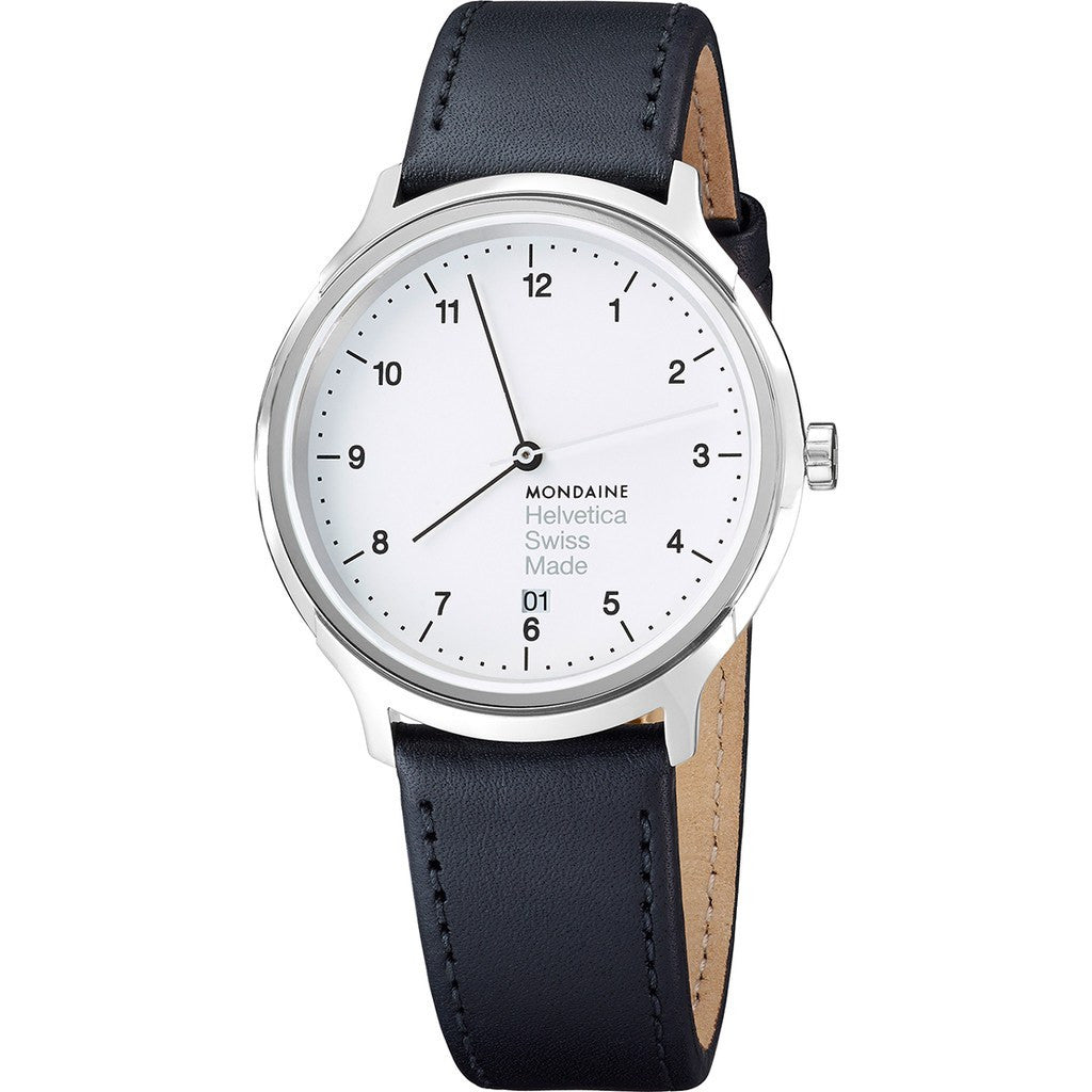 Mondaine Helvetica No1 Regular 40 White Watch | Black Leather MH1.R2210.LB