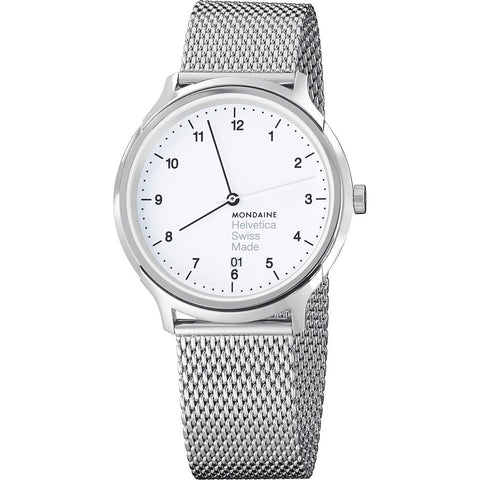 Mondaine Helvetica No1 Regular 40 White Watch | Steel Mesh MH1.R2210.SM