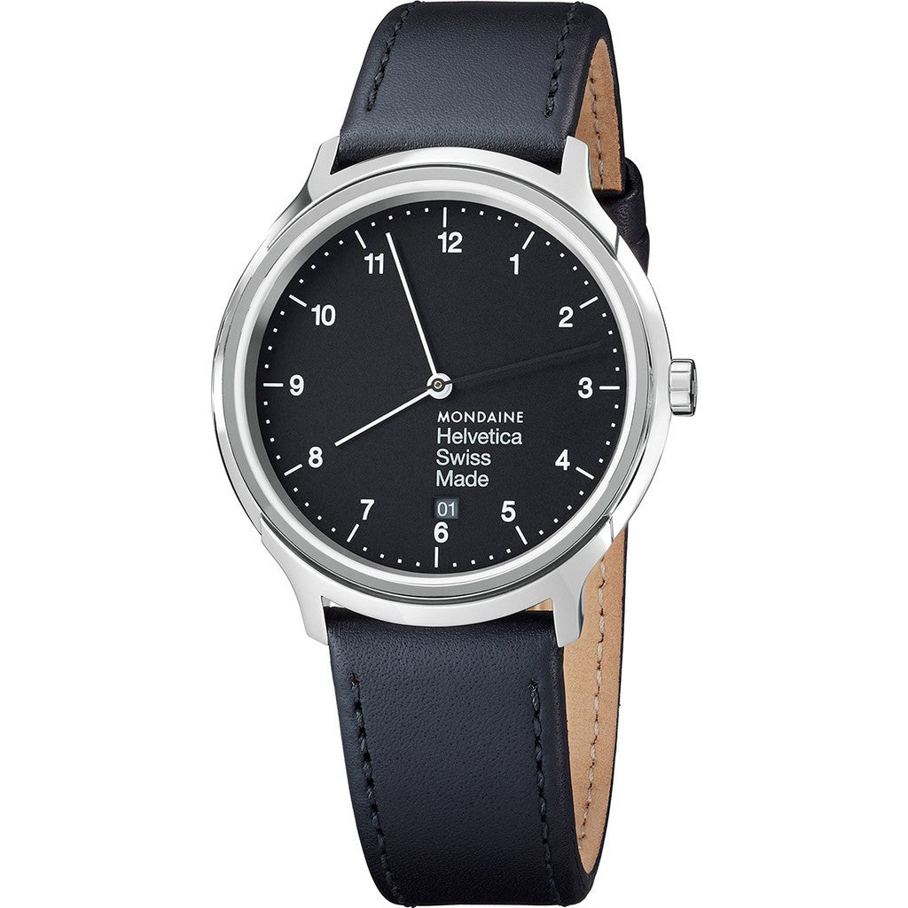 Mondaine Helvetica No1 Regular 40 Black Watch | Black Leather MH1.R2220.LB