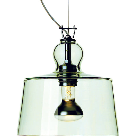 Produzione Privata Acquatinta Pendant Lamp | Transparent Green Murano Glass- ML-ACTG