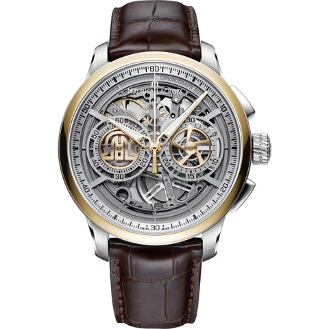 Maurice Lacroix Masterpiece Chronograph Skeleton 45mm Watch | Gold/ Brown Leather MP6028-PS101-001-1