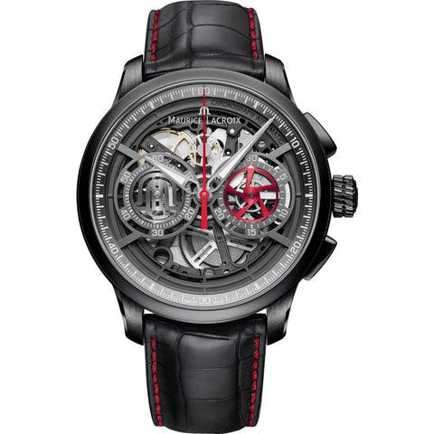 Maurice Lacroix Masterpiece Chronograph Skeleton 45mm Watch | Black/Black Leather MP6028-PVB01-001-1